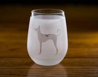 Ibizan Hound Stemless Wine Glass Set  | Birthday Gift for Dog Lover | Housewarming Present | Wine Drinker Gift | Customizable Glassware