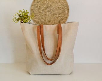 Large Linen Tote  Bag, Beach bag, Beach tote bag, French Market bag,Mother's day, Leather handles bag,Tote bag , Natural linen bag, Handbag