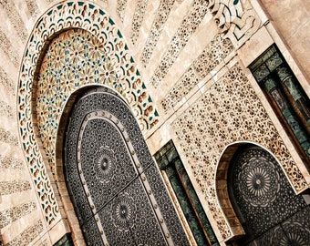 Fine Art or canvas print - Architecture Moroccan - mosque Hassan II - Casablanca - Morocco - wall decor - travel