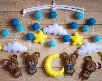 Baby mobile / bear mobile / stars cloud moon baby mobile / unisex baby mobile / bear /brown bear mobile /Baby crib mobile / Nursery Decor