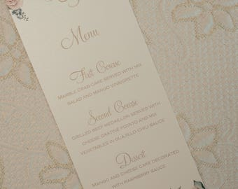 Floral Menu, Floral Wedding Menu, Flower Menu, Flower Wedding Menu, Shabby Chic Wedding Menu, Boho Chic Menu, Shabby Chic Menu, Wedding Menu