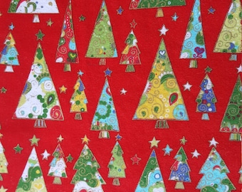 Christmas Trees Table Runner Red with Gold Metallic Padded