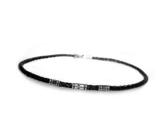 Mens Necklace/Choker Classic-Sterling silver and black vintage leather 499