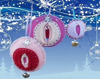 """Vagina Ornament Mixed Set of 3 - iFelt Vaginas Goddess """"Merry Cherry"""" """"Pink Noel"""" """"Little Pink Sparkle"""""""