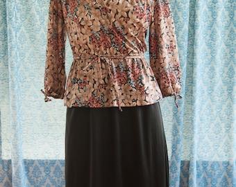 Vintage Dress - 80s Floral Ruffle Waist