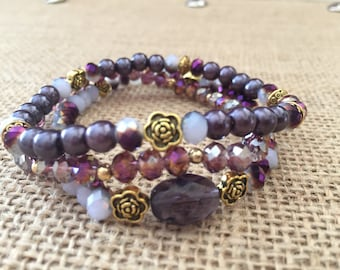 Stretchy bracelets, Purple faceted bracelets 6mm Boho stackable bracelets, Set if 3 stretchy bracelets.