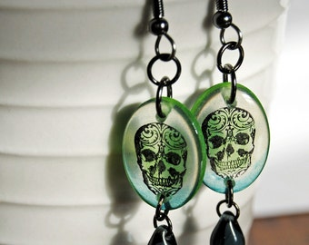 neon skulls, sugar skull earrings, resin earrings, green and blue earrings gifts under 20