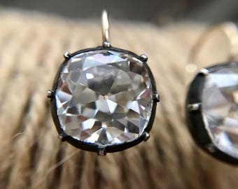 Medium / Large Georgian Victorian Reproduction Cushion Cut Diamond Paste Earrings with OMC (Old Mine Cut) CZ's 3 & 4 Carats each