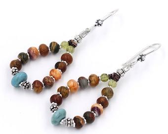 SALE! Southwest Spirt Hoop Turquoise, Spiny Oyster, Jasper Earrings Sterling Silver~ Native American Made