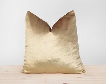 Gold Velvet Pillow Cover Solid Gold Cushion Shiny Gold Velvet Throw Pillow  Metallic Gold Velvet Pillowcases