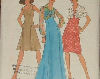 Princess Seam Sleeveless Dress, Jacket 1970s Vintage Sewing Pattern SIMPLICITY 6761, Bust 36