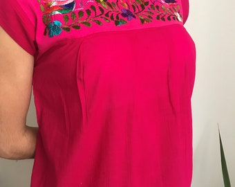 Traditional Hand Embroidered Mexican Blouse | Frida Kahlo Style | Blouses for Women | Spring Outfit | Fiesta Mexicana | Ladies Blouses