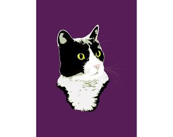 Regal Tuxedo Kitty Cat, art print 5x7 Animal Art Digital Art Cat, illustration, home decor, Nursery, wall art, postcard
