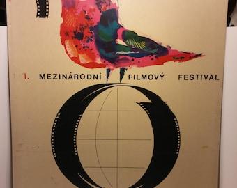 """Vintage 1968 Czech Mezinárodní Filmovy Festival 32x22 poster by MORAVEC - Full Size 32 x 22 poster mounted on 1/16"""" thick cardboard stock"""