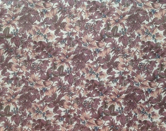 Floral Fabric / Mauve and Peach on Cream / 100 % cotton / Kaufman Fabrics / Sold by the yard
