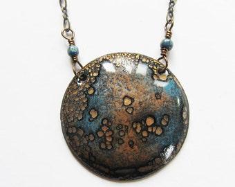 30 inch enamel moon necklace Long bohemian pendant Boho layering medallion necklace Enameled copper jewelry