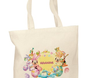 Personalized Cotton Tote Bags Custom Easter Gift Bags - Easter tote bag - Mickey mouse Easter bag