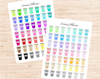 Coffee Cup Functional Basics (matte planner stickers, Erin Condren, Happy Planner)