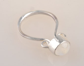 Roman inspired, rainbow moonstone, recycled sterling silver, fine silver, ring