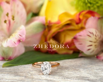 2.0 CT Dainty Oval Engagement Ring , Oval Cut Engagement Ring, Thin Band Oval Ring, Rose Gold Oval  Ring, Oval Moissanite Engagement Ring