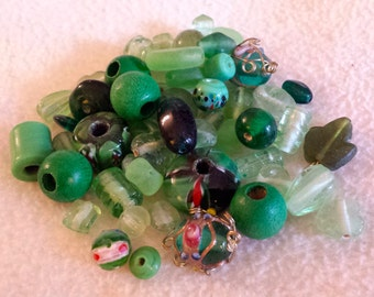 Beads, green, shades of green, variety, beautiful ,glass ,wood, African, 56 pieces