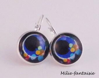 Fancy earrings silvery blue with pastel spots glass cabochon