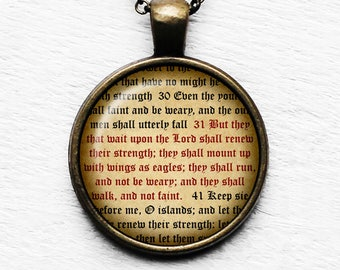 "Isaiah 40:31 ""But they that wait upon the LORD shall renew their strength.."" King James Version KJV Bible Pendant & Necklace"