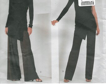 Vogue American Designer 2064 DKNY Open Shoulder Top w Asymmetrical Hem; Wide- or Straight Leg Pants