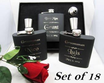 Personalized Flask Set - Groomsmen Gift - Father In Law Gift Monogram Flask Set - Best Man Gift - Wedding Gift - Bachelor Gift - Black Flask
