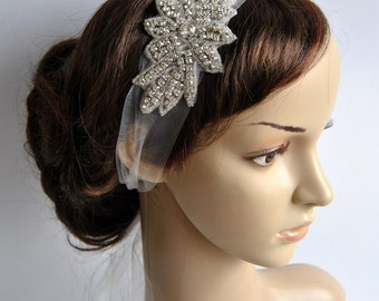 Veil Great Gatsby Crystal Rhinestone Bridal 1920s Veil tulle Headband Headpiece, Wedding, Art Deco Bridal Rhinestone Tulle Headband,