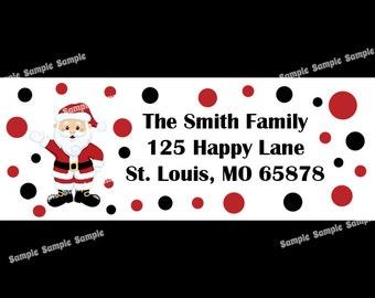 30 Personalized Christmas Return Address Labels  - Santa Design
