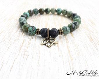 Lotus Bracelet, Jasper Bracelet, Lava Stone Bracelet, Mala Beads Bracelet, Gemstone Bracelet, Lotus Jewelry, Healing Crystal Bracelet