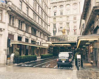 The Savoy Hotel, London Photography Print, Black Cab, Travel Photo, Fine Art Print, London Decor, Architecture, England, UK, Wall Art