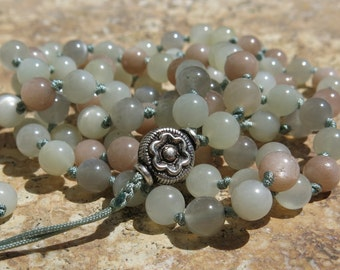 Intuition and New beginnings, Rainbow Moonstone, 108 Mala beads, Adjustable 6mm knotted Mala necklace or wrist mala. Prayer beads.