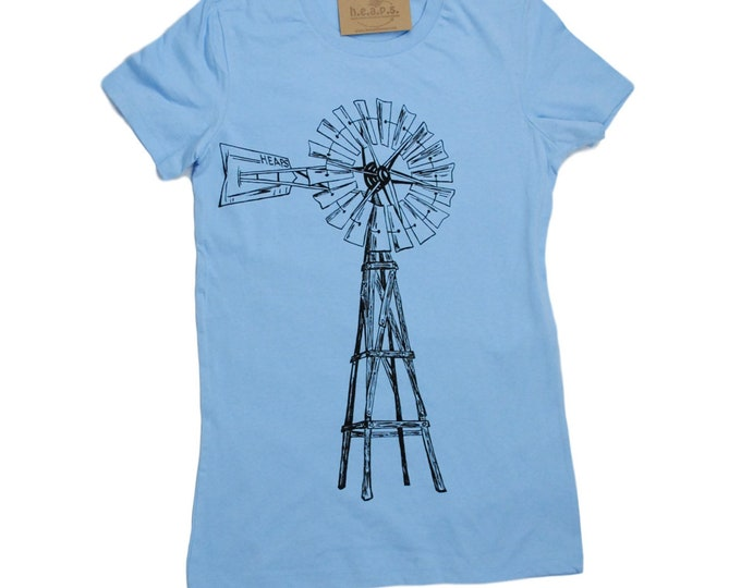 Womens T Shirt - Windmill TShirt- Short Sleeve - Farm Tshirt - Womens Graphic Tee - Green Energy Tshirt Ladies Tee S M L XL 2XL