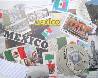 Vintage Mexico paper ephemera pack: 30 pieces including playing cards, pictures, maps. Paper for scrapbooks, travel journal EP850