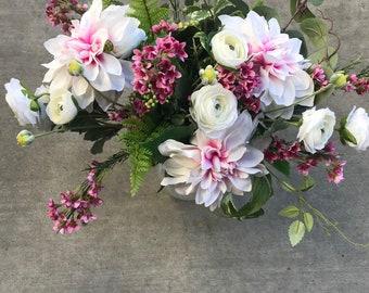 Ranunculus Dahlia Bouquet White and Pink Silk Flower Bouquet Wedding Bouquet Dahlia Bouquet White Ranunculus