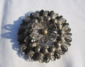 Large Sterling Mexico Filigree Brooch