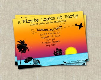 Pirate Looks at Forty Invitation - Digital File
