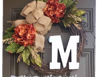 Hydrangea wreath for front door - year round monogram wreath - everyday wreath with initital -front door weath with a burlap bow - wreaths
