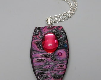 Mokume Gane Pendant Necklace, Polymer Clay with Vintage Mirrored Cabochon, Rose Pink and Graphite