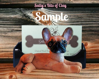 RED FAWN French BullDog black mask Business Card /Cell Phone / Post It Note Holder OOAK Sculpture by Sally's Bits of Clay