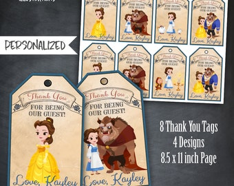 Beauty and The Beast Thank You Tags, Belle Thank You Tags, Favors, Tags, Beauty and The Beast Party, Birthday, Personalized, Printables, DIY