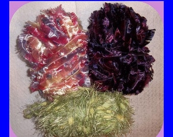 ON SALE Three  Partial Skeins of Fun Funny YARN Smaller Projects Fiber Arts