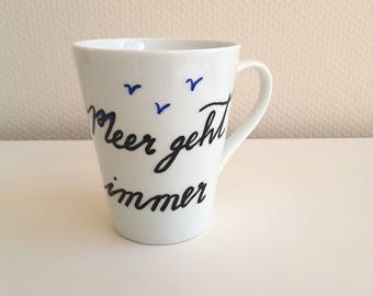 Cup with spell, coffee cup, sea, holiday, teacup, mug with spell, Sea always goes