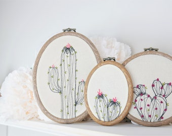 "Blooming Cactus 6"" Embroidery Hoop Art, Wall Art, Home Decor Set of Three"