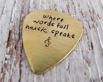 Where Words Fail Music Speaks, Brass Guitar Pick, Leather Key Chain, Personalized, Hand Stamped, Christmas Gift
