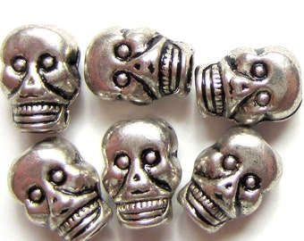 24 Skull beads antique silver metal diy jewelry supplies day of dead 9mm 7mm 0922