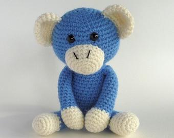 Crochet Monkey, Blue Amigurumi Monkey, Plush Monkey, Hand Made Toy, Cute Monkey, Australian Made Toy