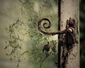 Photography print: spiral latch, rusty hinge, fine art print